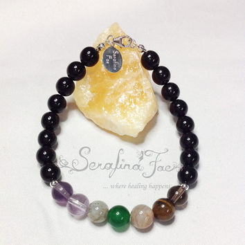 Focus Crystal Healing Chakra Audition Back to School Public Speaking Bracelet Chakra Jewelry Spiritual Jewelry Gifts for Him Gifts for Men