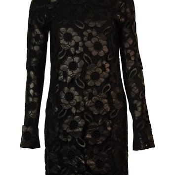 French Connection Women's Faux Leather Lace Cotton Dress