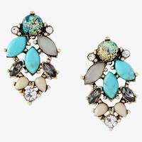 turquoise mixed stone post drop earrings