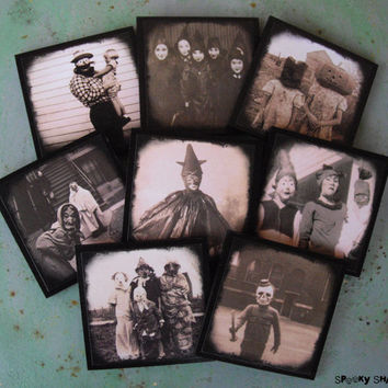 Creepy Hallowen Costumes coasters - set of 8 wooden coasters - halloween decor, dark decor, victorian, antique pictures, sepia, old pictures