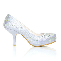 ANNIE Silver Satin Kitten Mid Heel Diamante Evening Court Shoes