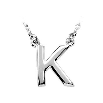 14K White Gold, Kendall Collection, Block Initial K Necklace, 16 Inch