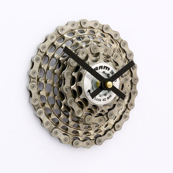 Bike Clock, Bicycle Gear Clock, Bicycle Wall Clock, Upcycled Bike Parts, SRAM, Gift for Cyclist, Gear Clock, Steampunk Clock, Mountain Bike