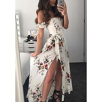 White Flowers Sashes Side Slit Off Shoulder Backless Flowy Bohemian Party Maxi Dress