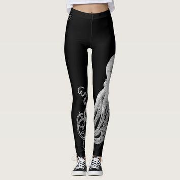 White Octopus Black Leggings