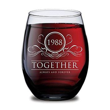 1978 Together Always and Forever Wine Glasses  Set of 240th Wedding Anniversary for Him Her Husband Wife Couple or Parents  Valentines Day Christmas Birthday Gifts for Men or Women