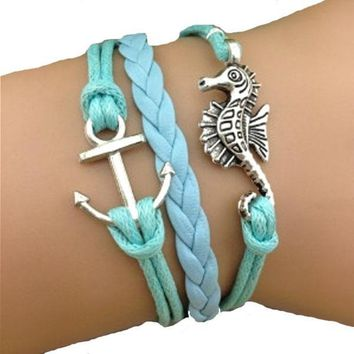 Seahorse With Anchor Blue Leather Bracelet