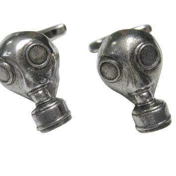 Silver Toned Textured Gas Mask Cufflinks