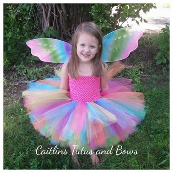 Colorful Flower Girls Tutu Dresses Princess Rainbow Flower Fairy Baby Girls Fluffy Puff Dress For Wedding Birthday Party