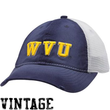 Nike West Virginia Mountaineers Youth Navy Blue Washed Trucker Flex Hat - http://www.shareasale.com/m-pr.cfm?merchantID=7124&userID=1042934&productID=524886108 / West Virginia Mountaineers