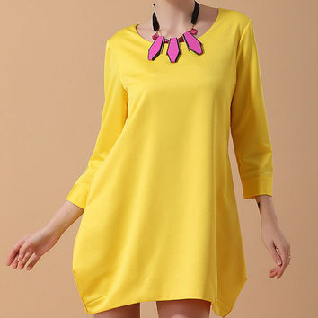 Yellow Free dress Autumn womens dress long sleeve dress fashion dress long dress ---WD0106