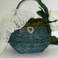 Wedding, Flower girl basket, moss, flowers, bridal, basket, blue or teal timelesspeony, rustic wedding, flower girl basket