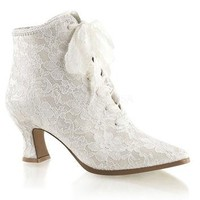 Victorian Ivory Lace Ankle Boot Wedding Shoe
