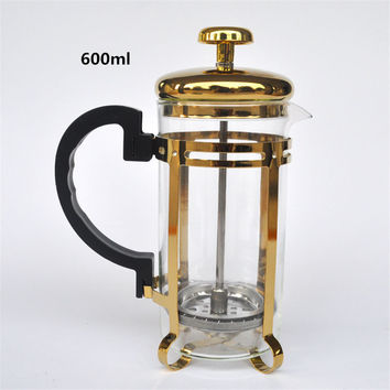 600ML golden glass filter coffee maker / tea strainer percolating cup coffee machine tea cup coffee filter tools Kitchen Tools