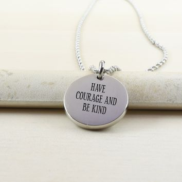 Thick Disc Necklace - HAVE COURAGE