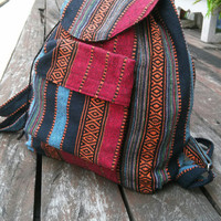 Big Tribal Backpack Unisex Boho Ikat Abstract Native Design Bag Ethnic Rucksack Hippie Folk Gypsy Handwoven Handmade Thai Tapestry bag Purse