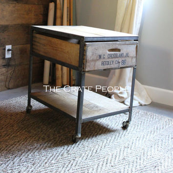 Industrial Side Table on Casters - vintage crates & barnwood