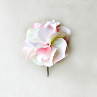Pink Hydrangea Hair Pin. Soft Pink, White + Yellow Fabric Flower Hair Pin. Artificial Hydrangea Bouquet Hair Clip for Spring Summer Weddings