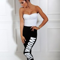 Exhilarate Black 'Work Out' Print Leggings   Pink Boutique