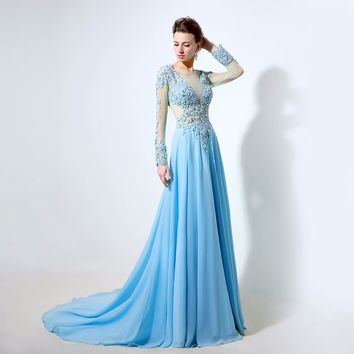 Sheer Neck Prom Dresses,Sky Blue Prom Dresses,Long Evening Dress