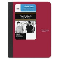 Five Star Composition Book, College Ruled, 1 Subject, 7.5 x 9.75 Inches, 100 Sheets, Corner Tabs, Assorted Colors (09120)