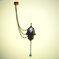 ear cuff with hamsa earring, hand of fatima earrings, glass opal, and turquoise ball, ear cuff with chains, chains ear cuff
