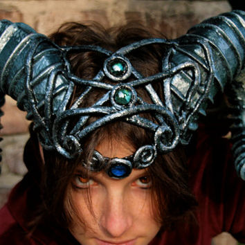 MADE TO ORDER -  horns  fantasy larp sciaman silver blue costume steampunk demon devil fantasy renaissance burning man