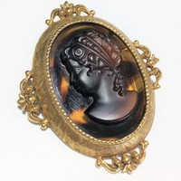 Florenza Glass Cameo Brooch Pin Faux Tortoise Shell Gold Tone, Mid Century Sentimental Jewelry 618m