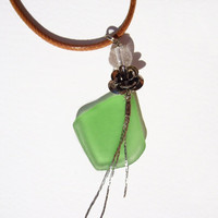Sea glass necklace Sea glass jewelry Beach necklace Green sea glass pendant with rose charm Summer necklace Seaglass jewelry Genuine glass