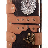Handmade Unique Ancient Motifs Steampunk Leather Journal Notebook Sketchbook
