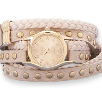 Pink Leather Fashion Wrap Watch