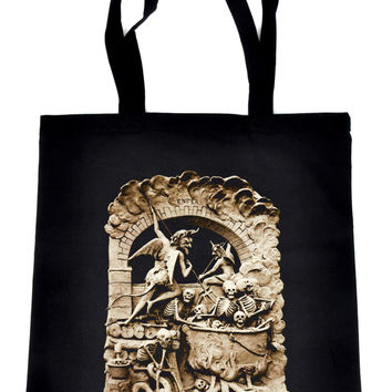 Diableries Devil Hell Scene Tote Book Bag Skeletons in Cauldron Handbag