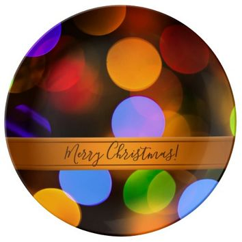 Multicolored Christmas lights. Add text or name. Plate