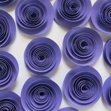 "Dark Grape Purple Paper roses set of 12, loose 1.5"" flowers for decorating, dark purple, wedding decor, bridal shower supplies"