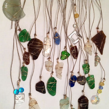 Beach Glass Sun Catcher Bohemian Beach Decor Crystal Beads Eco Friendly Sea Glass Art Driftwood Art Whimsical Gypsy Style