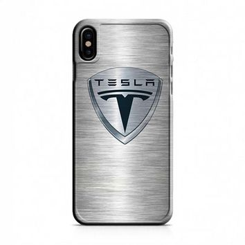 Tesla Motors Brushed Metal Logo iPhone X Case