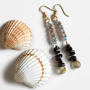 Macrame dangle earrings with beads and semiprecious stones, ucycling earrings in gold, blue and black, statement fashion jewelry for her