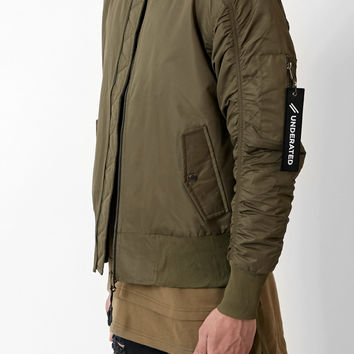 B07 Stealth Strapped Bomber Jacket - Olive Green