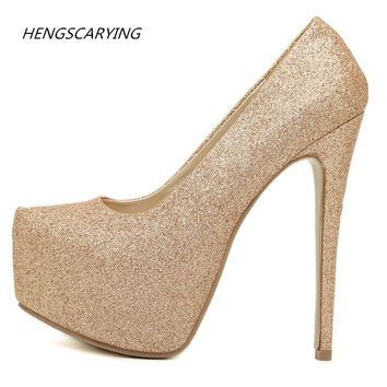 Woman Sexy Extreme High Heels Large Size 35-46 Luxury Designer Shoes Platform Heels Ankle Strap Scarpin Valentine Gold Pumps