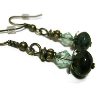 Rustic Green and Brown Dangle Earrings Antiqued Gold Plated Drop Czech And Swarovski Crystal Beaded Retro Style Womens Boho Jewelry