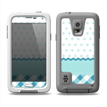 The Subtle Blue & White Plaid with Polka Dots Samsung Galaxy S5 LifeProof Fre Case Skin Set