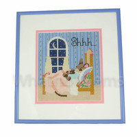 Shhh, Sleeping Mouse Framed Completed Needlepoint Baby Sleeping