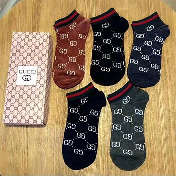 GUCCI Trending Women Men Stylish GG Letter Breathable Pure Cotton Sport Socks - Boxed