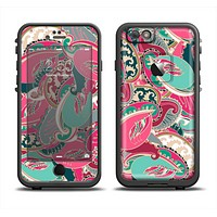 The Colorful Pink & Teal Seamless Paisley Apple iPhone 6 LifeProof Fre Case Skin Set