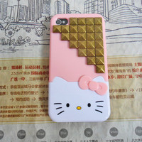 Fashion Hello kitty iPhone 4,4S hand case cover with bronze pyramid stud For iPhone 4 Case, iPhone 4S Case, iPhone 4 GS Caser  -166
