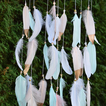 Baby Mobile, Dream Catcher Baby Mobile, Baby Girl Mobile, Blush Mint  Gold Nursery Decor, Baby Girl Nursery, Feathers Mobile, New Baby Gift.