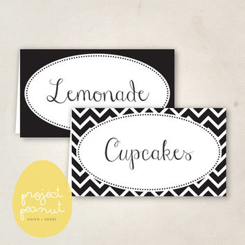 Printable Place Cards: Black & White [Instant Download]