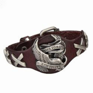 American Eagle Wide Genuine Leather Cuff Bracelet; Hand Crafted Genuine Cured Leather Designed to Define your Personal Patriotic Credence!!