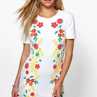 Emma Embroidered Flower Shift Dress