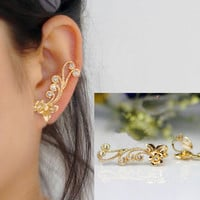 Golden Flower on Vine Rhinestone Ear Cuff (Single,No Piercing)